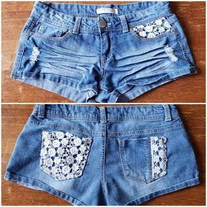 Crochet Detail Distressed Denim Shorts